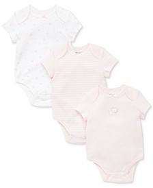 Baby Girls 3-Pack Cotton Bodysuits