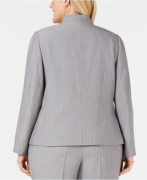 e59506e404f Kasper Plus Size Notched Stand-Collar Blazer - Jackets   Blazers ...