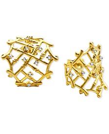 Diamond Accent Bamboo Cuff Earrings in 14k Gold
