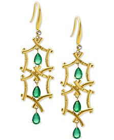 Kesi Jewels Multi-Gemstone (2-1/3 ct. t.w.) & Diamond Bamboo-Look Drop Earrings in 18k Gold-Plated Sterling Silver
