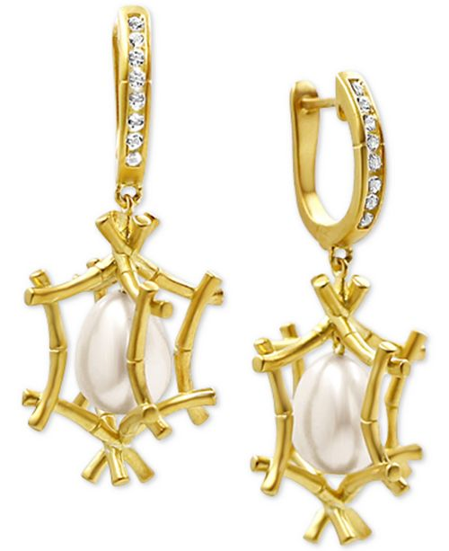 Kesi Jewels Cultured Freshwater Pearl (10-1/2 x 8mm) and Diamond Accent Drop Earrings in 18k Gold-Plated Sterling Silver