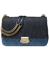 30caa8952e0a1 MICHAEL Michael Kors Sloan Signature Denim Chain Shoulder Bag