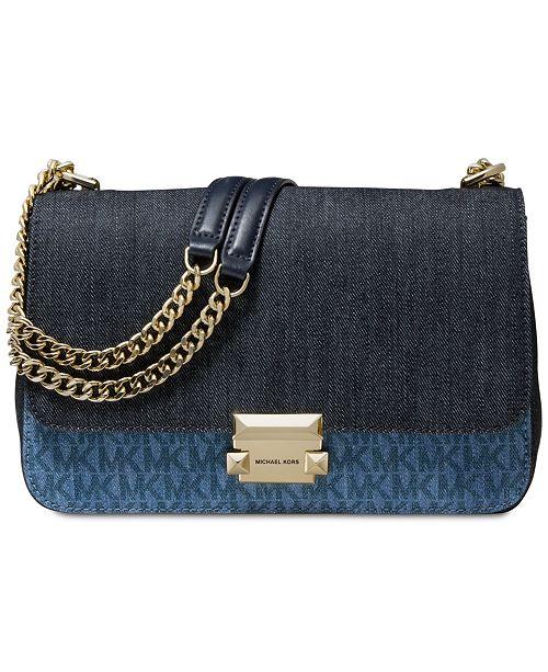 Michael Kors Sloan Signature Denim Chain Shoulder Bag, Created for Macy's