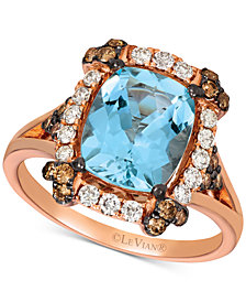 Le Vian® Aquamarine (2-1/5 ct. t.w.) & Diamond (5/8 ct. t.w.) Ring in 14k Rose Gold