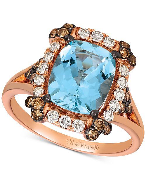 Le Vian Aquamarine (2-1/5 ct. t.w.) & Diamond (5/8 ct. t.w.) Ring in 14k Rose Gold