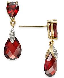 Rhodolite Garnet (6-9/10 ct. t.w.) & Diamond Accent Drop Earrings in 14k Gold