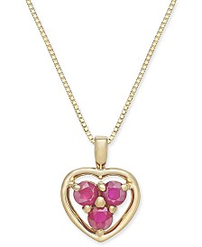 """Ruby (3/8 ct. t.w.) 18"""" Pendant Necklace in 14k Gold"""
