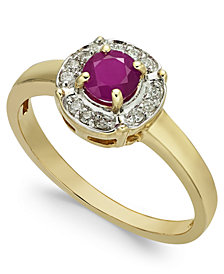 Ruby (1/2 ct. t.w.) & Diamond (1/10 ct. t.w.) Ring in 10k Gold