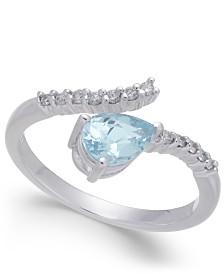 Aquamarine (3/4 ct. t.w.) & Diamond (1/8 ct. t.w.) Ring in 14k White Gold