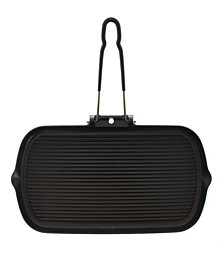 """Chasseur French Cast Iron 14"""" Rectangle Grill With Folding Handle"""
