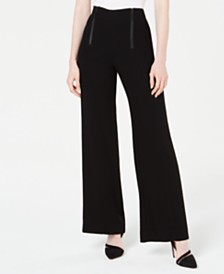 Nanette Lepore Zippered-Waist Wide-Leg Pants