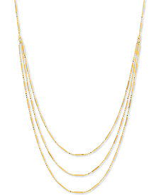 "Bead & Bar Triple Layer 17"" Statement Necklace in 10k Gold"