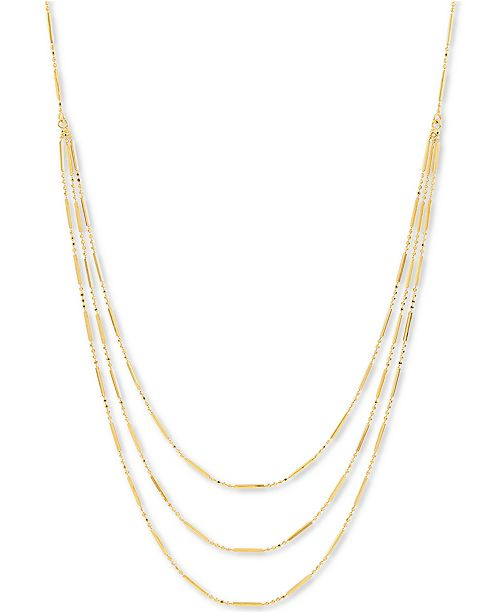 """Macy's Bead & Bar Triple Layer 17"""" Statement Necklace in 10k Gold"""
