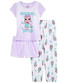 Little & Big Girls 3-Pc. L.O.L. Surprise! Pajama Set