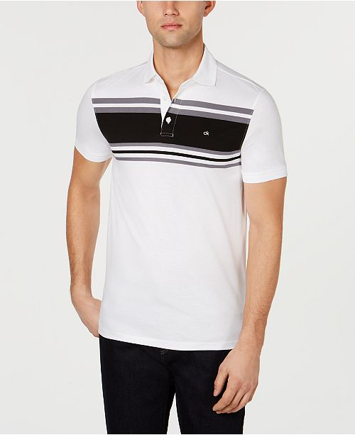 Calvin Klein Men's Liquid Touch Slim-Fit Contrast Stripe Polo Shirt