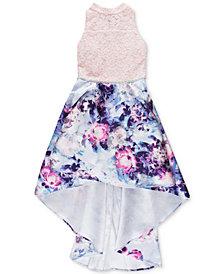 Speechless Big Girls Plus Mock-Neck Floral-Print Hi-Low Dress