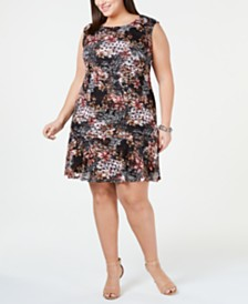 Connected Plus Size Ruffled Lace A-Line Dress