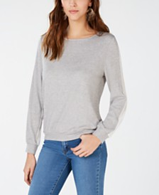 I.N.C. Woven Knit Long-Sleeve Top, Created for Macy's