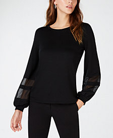 INC Illusion-Sleeve Top, Created for Macy's