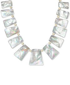 """Mother of Pearl (10-32mm) 18"""" Statement Necklace in 18k Gold over Sterling Silver"""