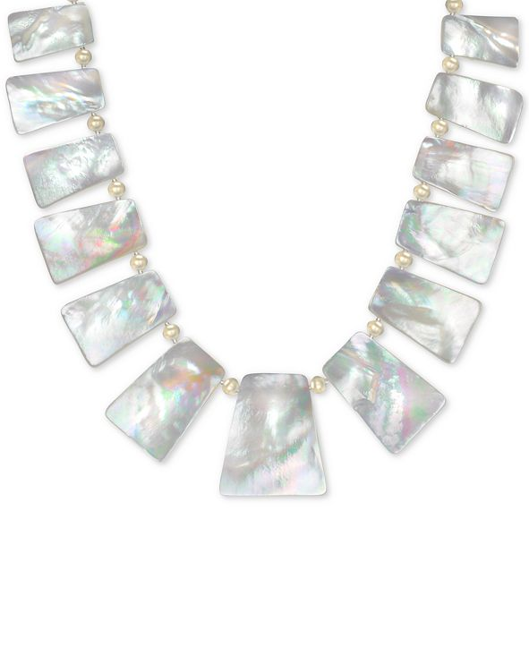 """Macy's Mother of Pearl (10-32mm) 18"""" Statement Necklace in 18k Gold over Sterling Silver"""
