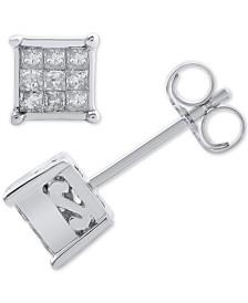 Diamond Princess Cluster Stud Earrings (1/4 ct. t.w.) in 14k White Gold