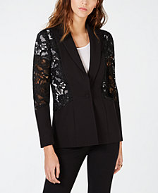 I.N.C. Petite Mixed-Materials Lace One-Button Blazer, Created for Macy's