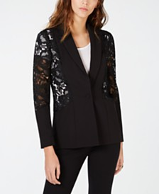 I.N.C. Mixed-Materials Lace One-Button Blazer, Created for Macy's