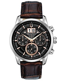 Men's Chronograph Sutton Brown Leather Strap Watch 44mm