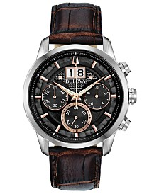 Bulova Men's Chronograph Sutton Brown Leather Strap Watch 44mm