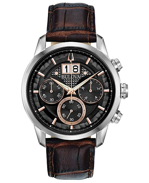 Bulova Men's Chronograph Sutton Brown Leather Strap Watch 44mm