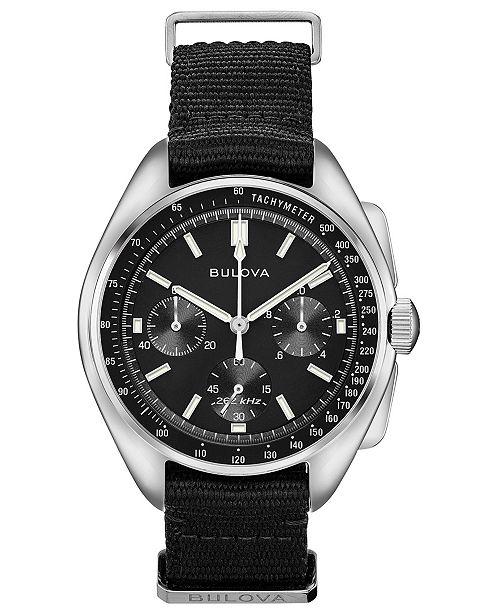 Bulova Men's Chronograph Lunar Pilot Archive Series Black Polyester Strap Watch 45mm