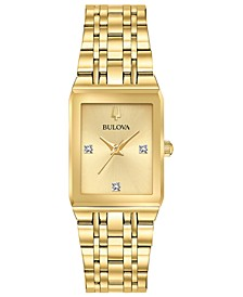 Women's Futuro Diamond-Accent Gold-Tone Stainless Steel Bracelet Watch 20.5x31.5mm