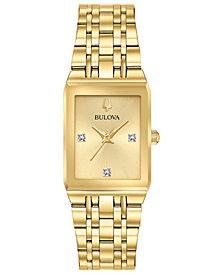 Bulova Women's Modern Diamond-Accent Gold-Tone Stainless Steel Bracelet Watch 20.5x31.5mm