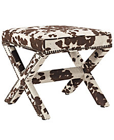 Modway Rivet Upholstered Fabric Bench in Cowhide
