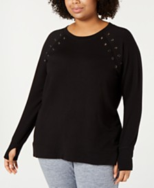 Ideology Plus Size Grommet-Trimmed Top, Created for Macy's