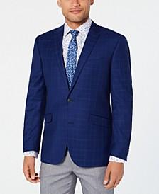 Men's Slim-Fit Stretch Bright Blue Plaid Sport Coat