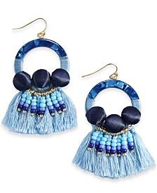 I.N.C. Gold-Tone Multi-Stone & Fringe Drop Earrings, Created for Macy's