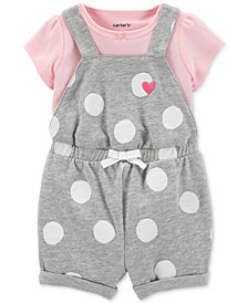 Carter's Baby Girls 2-Pc. Cotton T-Shirt & Dot-Print Shortall Set
