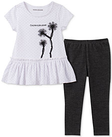 Calvin Klein Toddler Girls 2-Pc. Dot-Print Peplum Tunic & Leggings Set