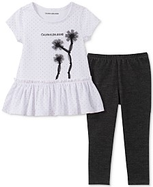Calvin Klein Toddler Girls 2-Pc. Dot-Print Peplum Tunic & Leggings Set