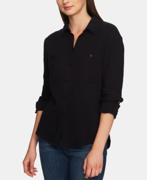 Image of 1.state Cotton Collared Patch-Pocket Shirt