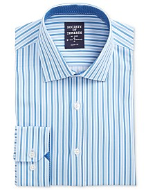 Society of Threads Men's Slim-Fit Performance Stretch Stripe Dress Shirt