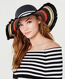 Steve Madden Mixed Texture Straw Floppy Hat
