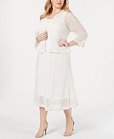 Robbie Bee Plus Size Crochet Lace Dress & Jacket