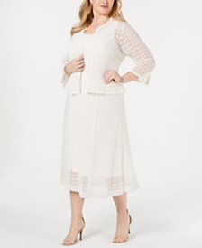 Robbie Bee Plus Size Crochet Lace Dress & Jacket