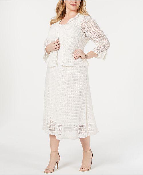 Robbie Bee Plus Size Crochet Lace Dress Jacket Reviews Dresses