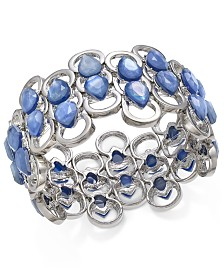 I.N.C. Silver-Tone Stone Openwork Stretch Bracelet, Created for Macy's