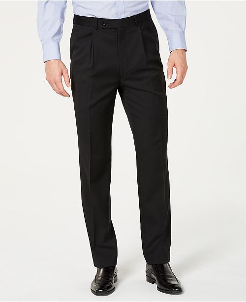 Kenneth Cole Unlisted Black Solid Pleated Slim-Fit Dress Pants