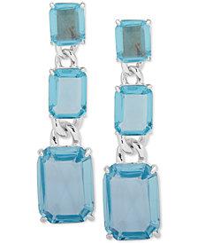 Lauren Ralph Lauren Silver-Tone Crystal Linear Drop Earrings